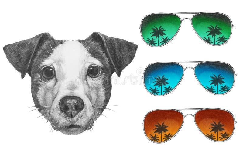 Dessin original de Jack Russell avec des lunettes de soleil de miroir illustration libre de droits