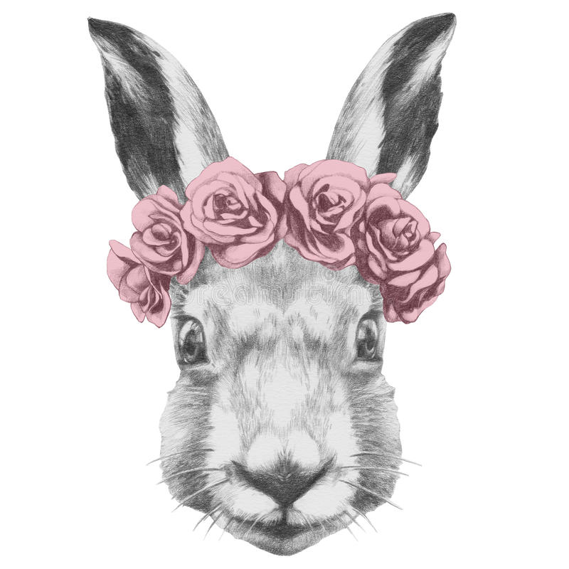 Dessin original de lapin avec des roses illustration de vecteur