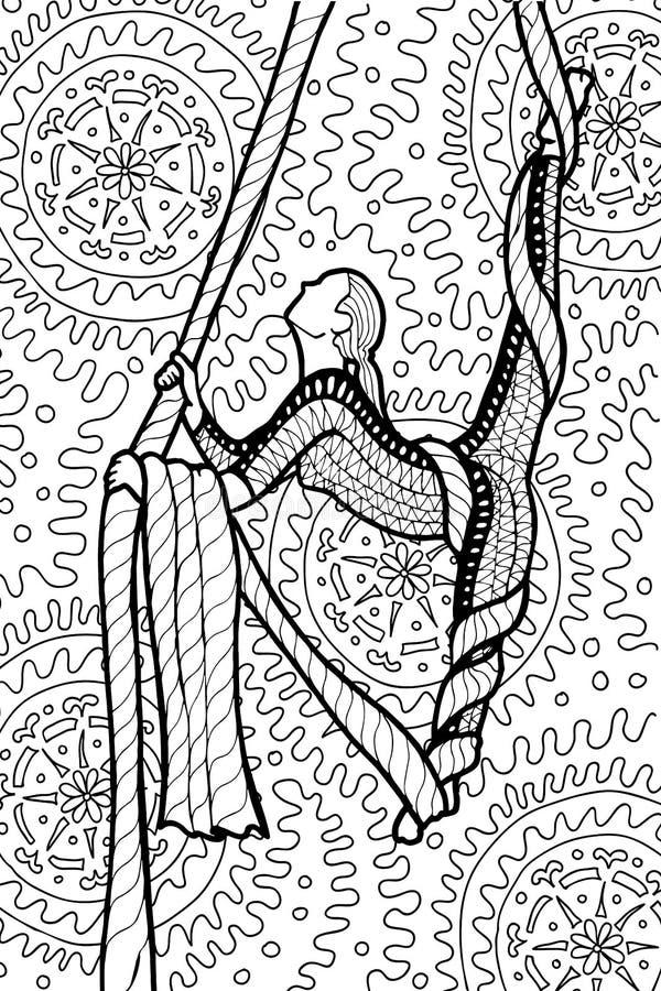 Dessin ornemental de griffonnage de fille gymnastique d'air illustration de vecteur