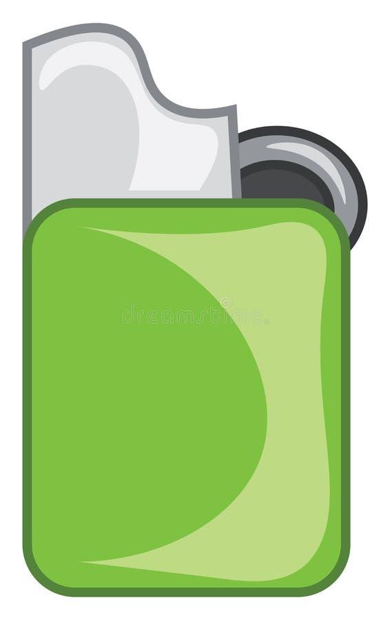 Dessin ou illustration en couleur vectoriel vert zippo ou briquet de cigarette illustration stock