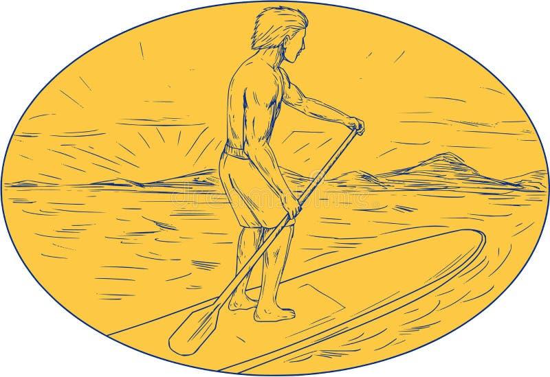 Dessin ovale de Dude Stand Up Paddle Board illustration stock