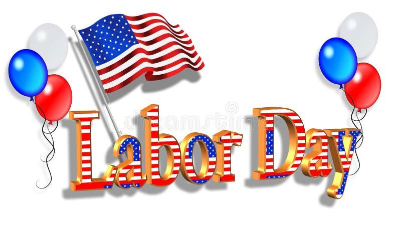 Dessin patriotique de cadre de Fête du travail illustration libre de droits