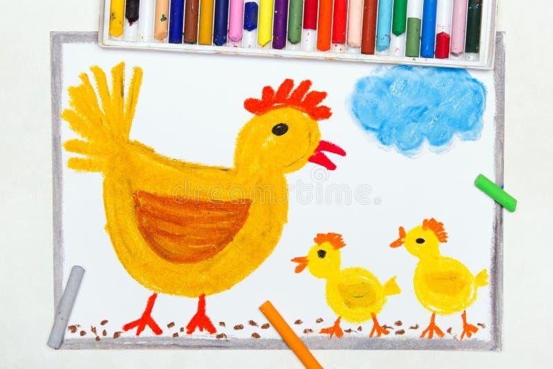 Dessin : poule de couvée et trois petits poulets illustration libre de droits