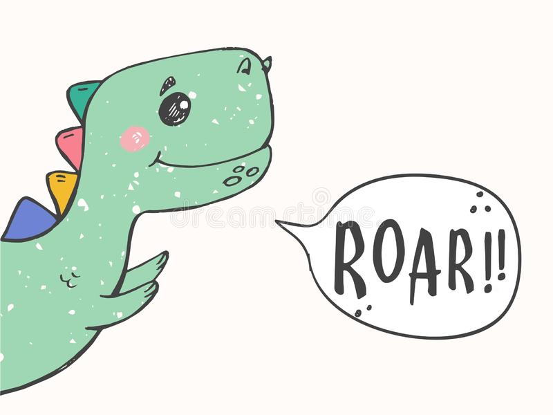 Dessin principal de dinosaure mignon pour la mode de bébé Dinosaure frais pour le T-shirt de crèche, enfants habillement, invitat illustration libre de droits