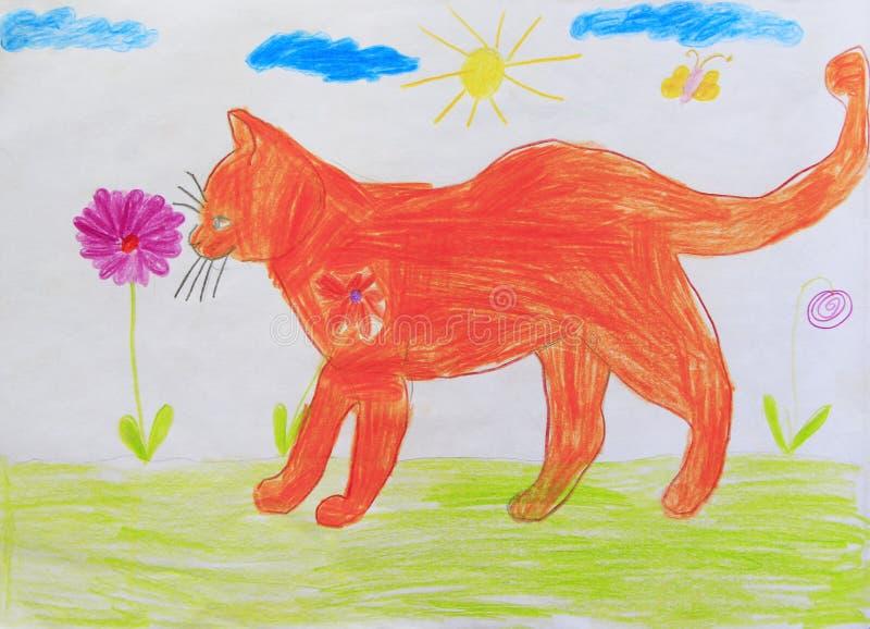 Dessin puéril de chat rouge drôle Imagination d'enfant illustration de vecteur