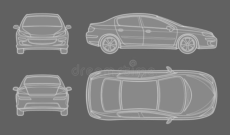 Dessin schématique de voiture du raccourci différent illustration stock