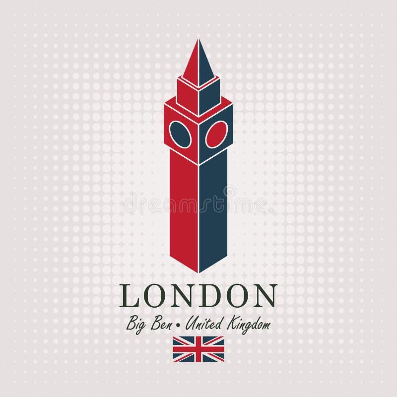 Dessin schématique du grand Ben et du drapeau anglais illustration de vecteur
