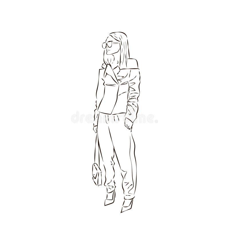 Dessin sexy de silhouette de fille de mode dans le style de croquis, illustration tirée par la main de découpe de vecteur illustration stock