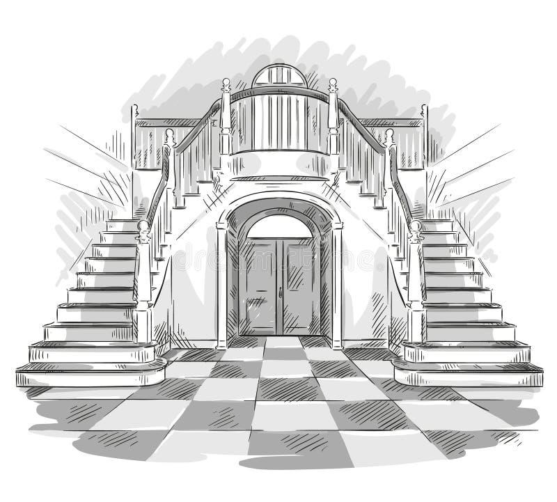Dessin spacieux de hall et d'escalier, illustration de vecteur illustration libre de droits