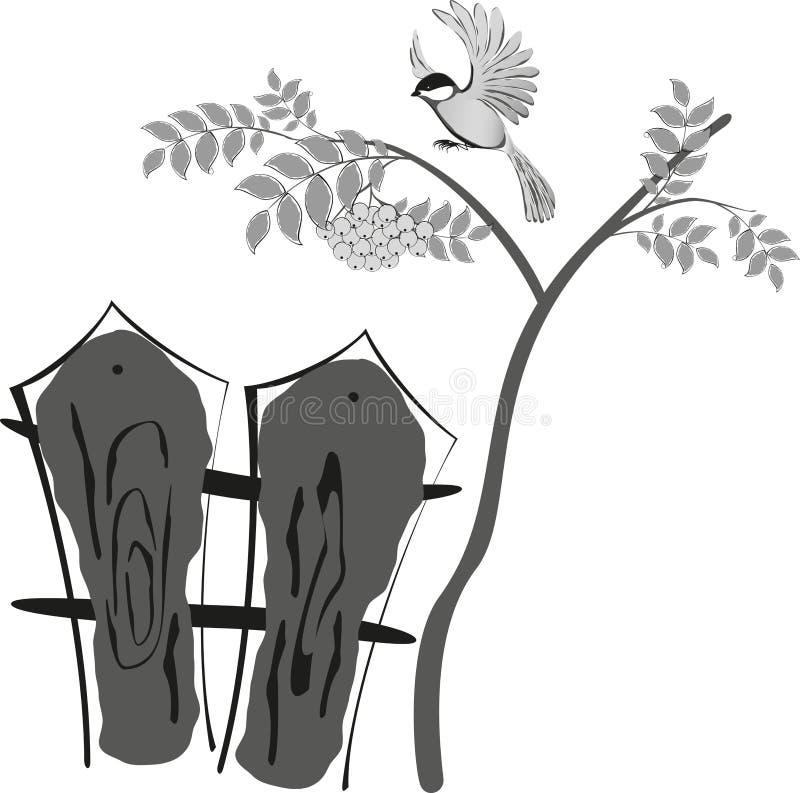 Dessin stylisé noir et blanc, oiseau se reposant sur une sorbe d'arbre Est ci-dessous une barrière Illustration EPS10 illustration libre de droits