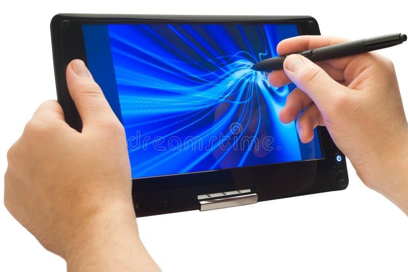 Dessin sur le PC de tablette images stock