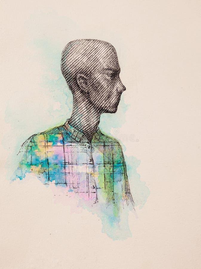 Dessin surréaliste de main, portrait d'une illustration décorative d'homme photo stock