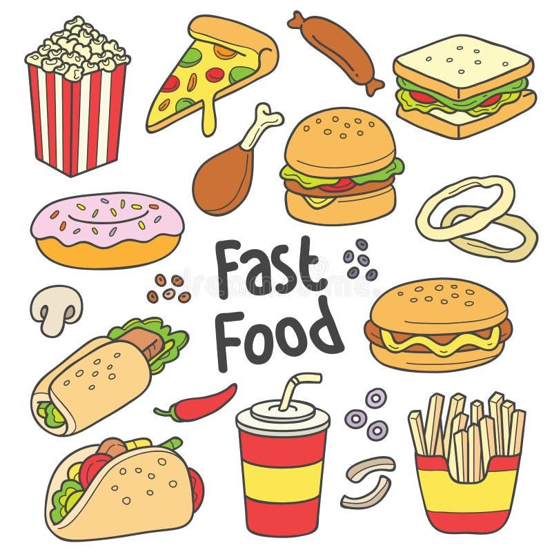 Dessin tiré par la main d'aliments de préparation rapide illustration stock