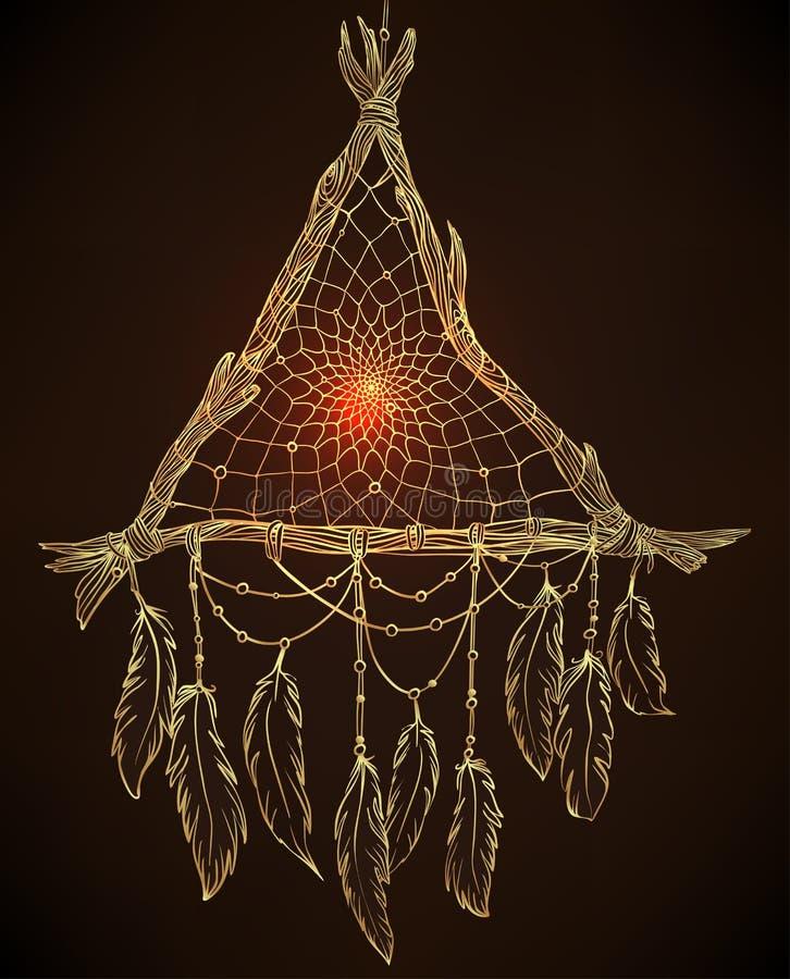 Dessin tiré par la main d'un dreamcatcher en forme de triangle avec le feathe illustration libre de droits