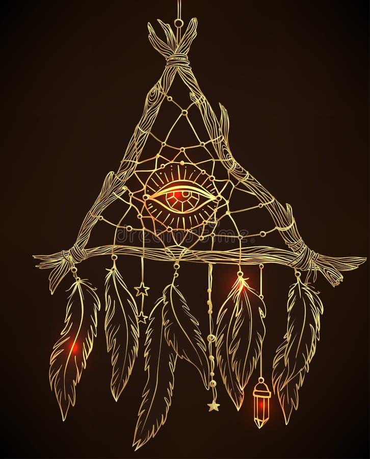Dessin tiré par la main d'un dreamcatcher en forme de triangle avec le feathe illustration de vecteur