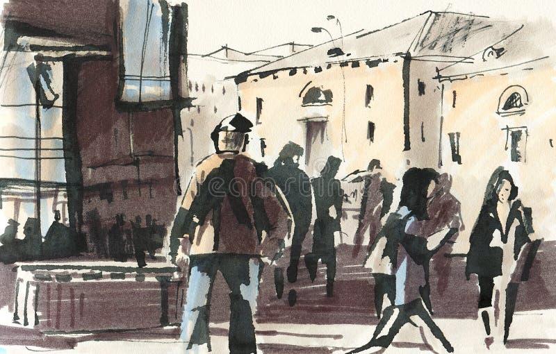 Dessin urbain, gens illustration stock