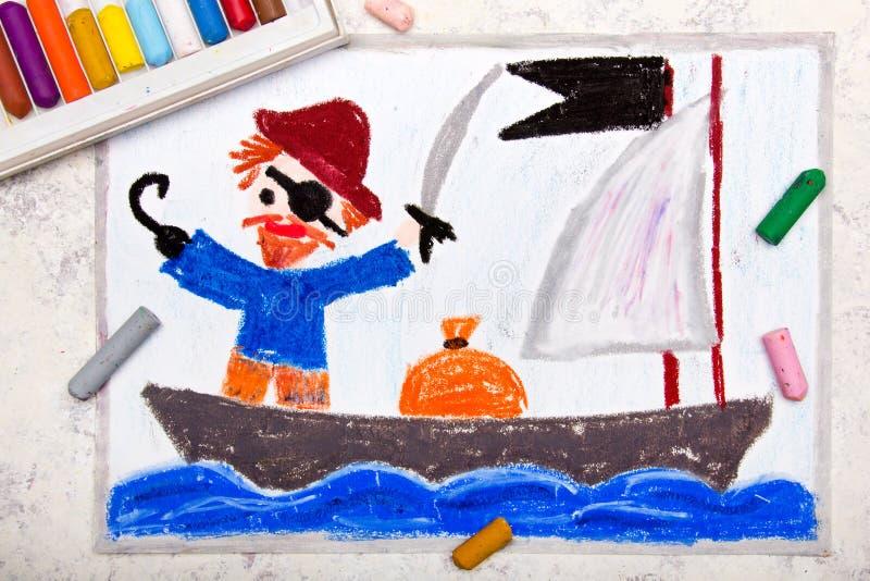 Dessin : Vieux pirate avec une correction au-dessus de son oeil, crochet et chapeau illustration de vecteur