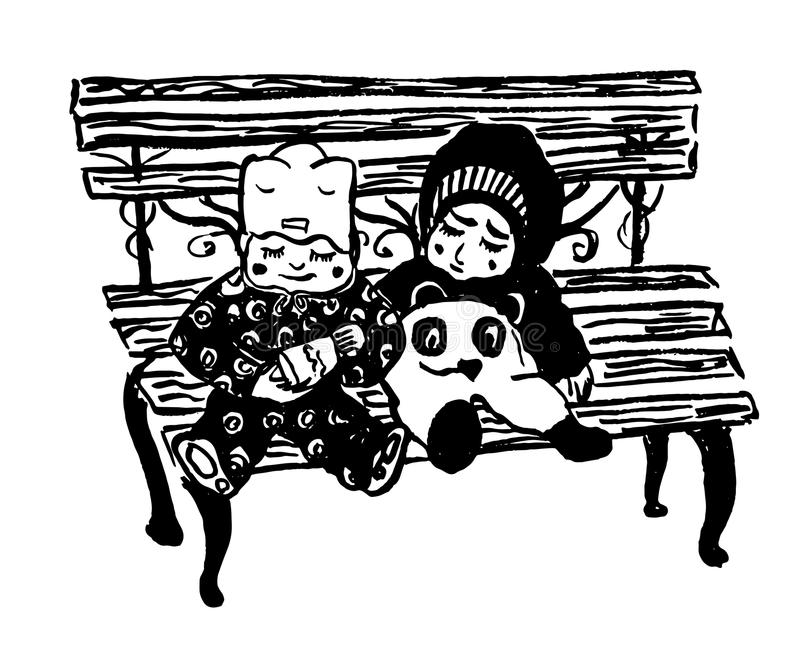 Dessinant l'isolat deux les enfants en bas âge, garçon et fille, en hiver chaud vêtx, jouant les uns avec les autres sur un banc illustration de vecteur