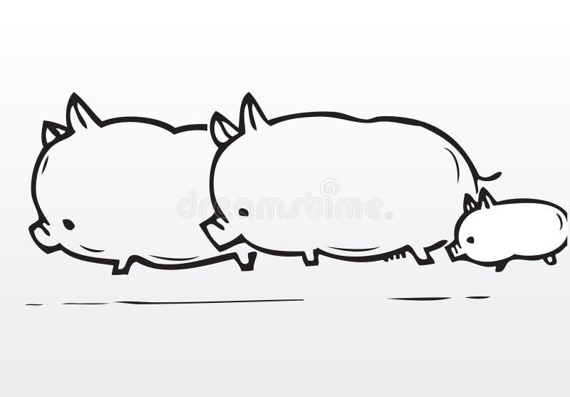 dessinez le porc de main de famille illustration libre de droits
