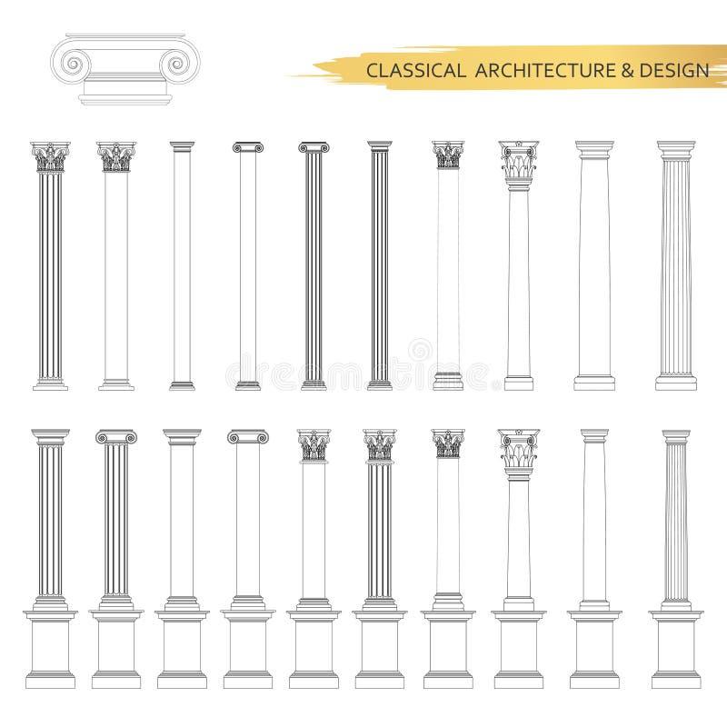 Dessins architecturaux classiques de forme dans l'ensemble Éléments de conception de dessin de vecteur pour l'architecture classi illustration libre de droits