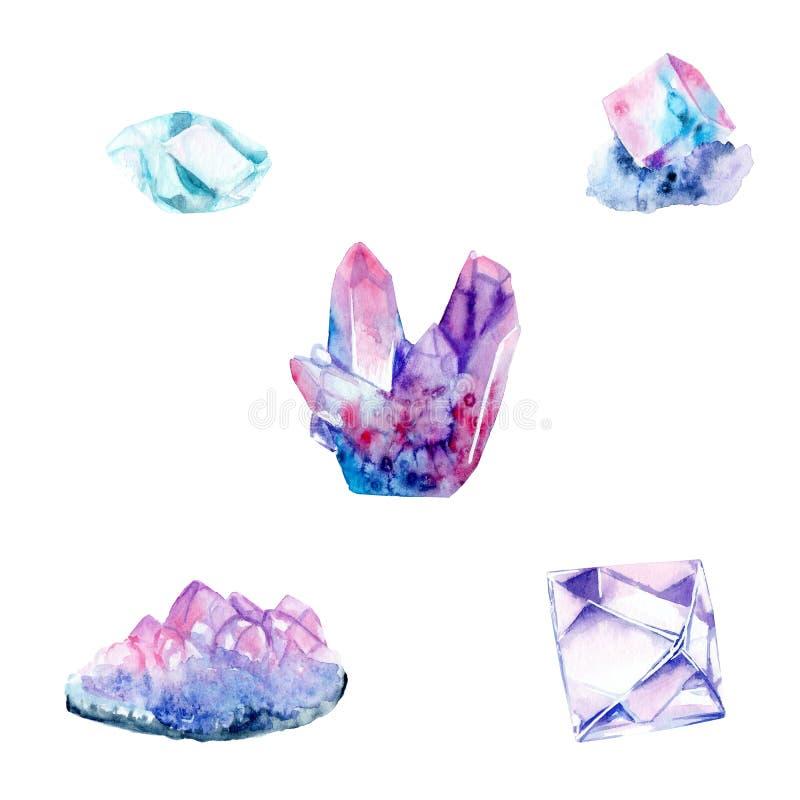 Dessins d'aquarelle, cristaux colorés sel en cristal, cristal, diamant illustration stock