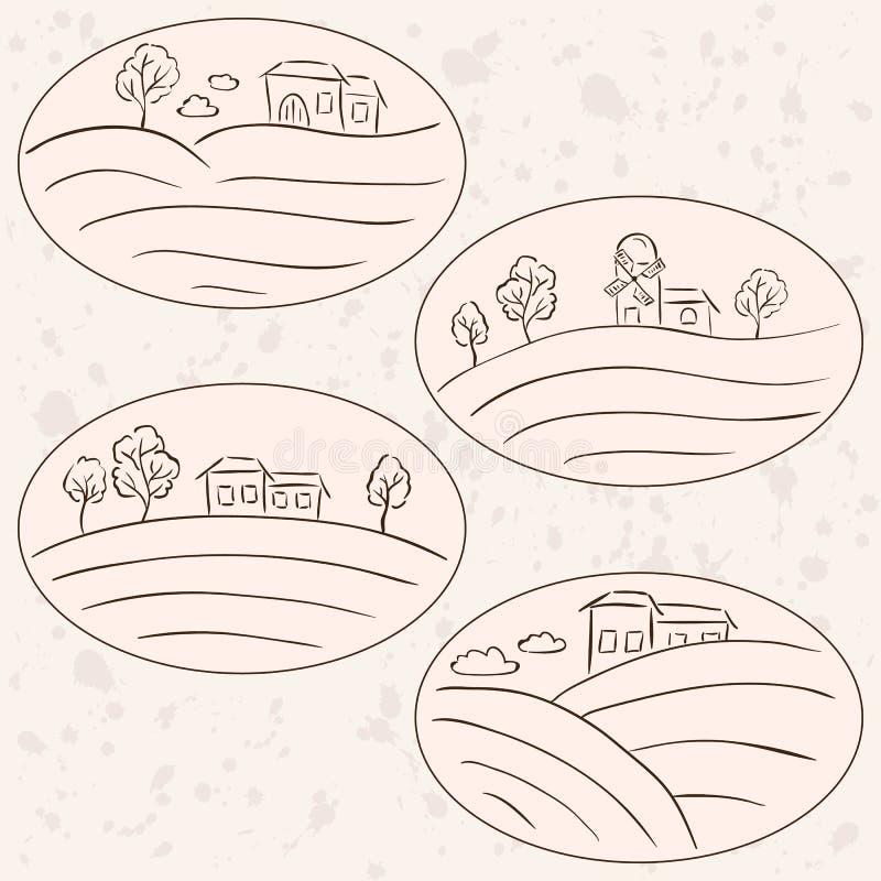 Dessins de campagne - labels de paysage de maisons illustration stock