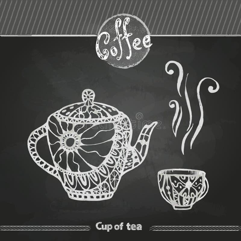 Dessins de craie Cuvette de café décorative illustration de vecteur
