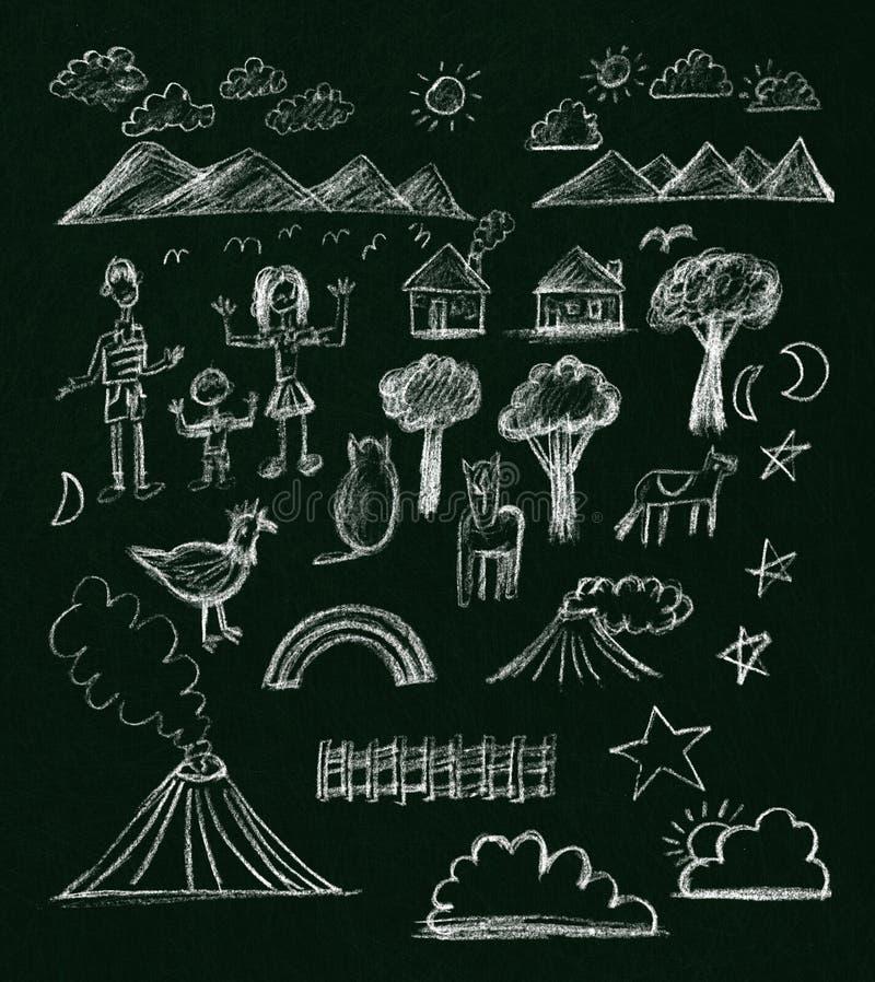 Dessins de craie enfantins sur un tableau noir illustration de vecteur