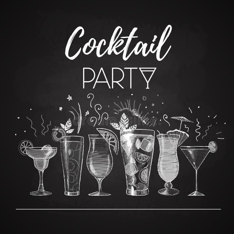 Dessins de craie menu de cocktail illustration libre de droits