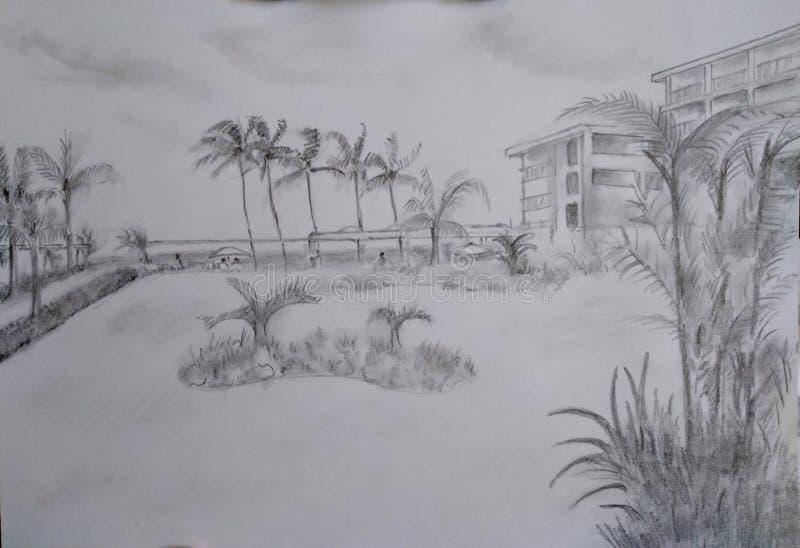 Dessins de croquis de crayon de main - paysages illustration libre de droits