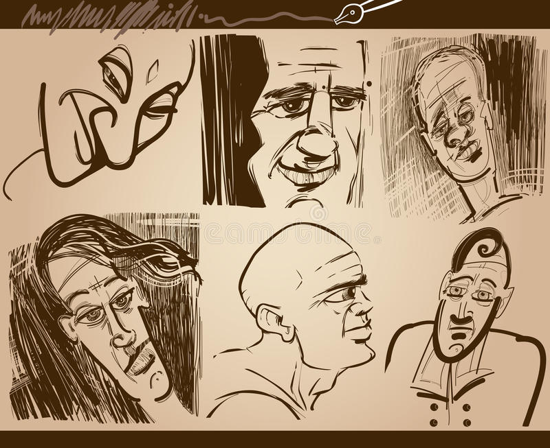 Dessins de croquis de caricature de visages de personnes réglés illustration de vecteur