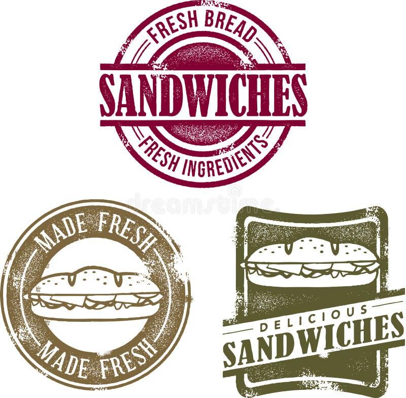 Dessins de sandwich à type de cru illustration stock