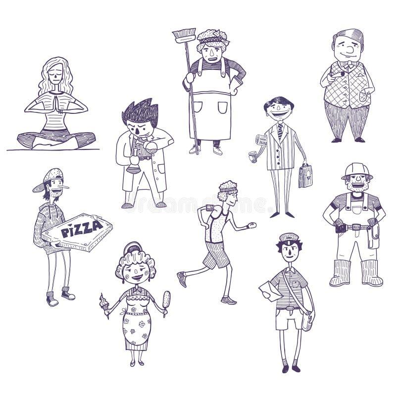 Dessins de vecteur de professions réglés illustration de vecteur