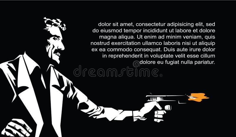 Dessins de vecteur Insectes de calibre Partie de Sin City Un homme avec un canon illustration de vecteur