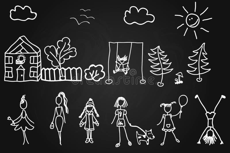 Dessins des enfants s dans la craie sur le conseil Filles, femmes et un chien Les arbres et la maison du soleil et des nuages illustration libre de droits