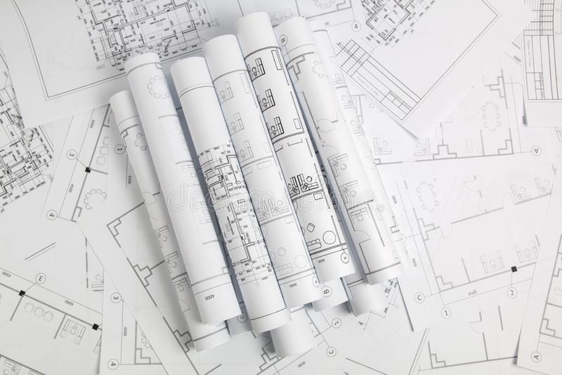 Dessins et modèle architecturaux de papier Modèle d'ingénierie photos libres de droits