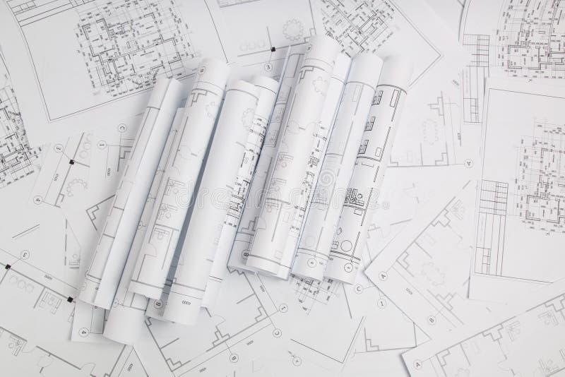 Dessins et modèle architecturaux de papier Modèle d'ingénierie images libres de droits