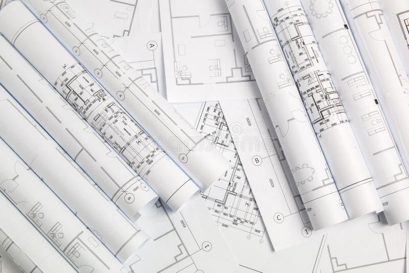 Dessins et modèle architecturaux de papier Modèle d'ingénierie image libre de droits