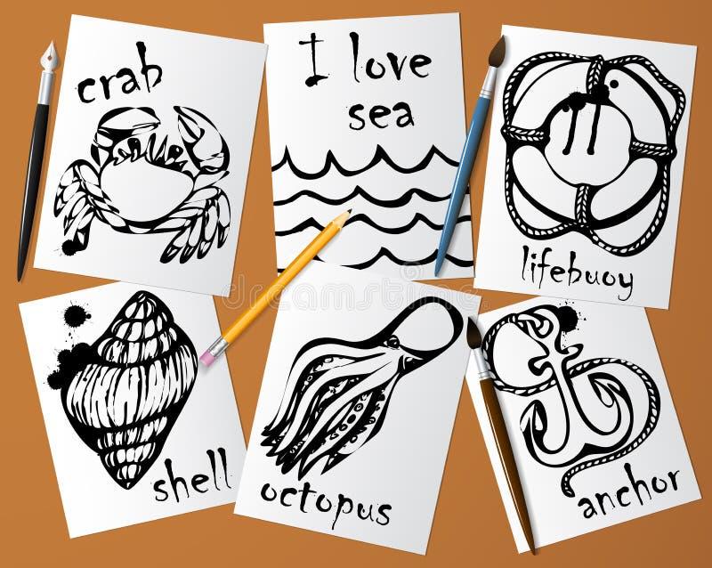 Dessins graphiques des animaux marins faits avec le mascara noir sur le livre blanc illustration libre de droits