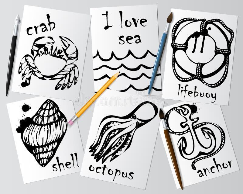 Dessins graphiques des animaux marins faits avec le mascara noir sur le livre blanc Crayonnez, balayez et parquez sur la table De illustration stock