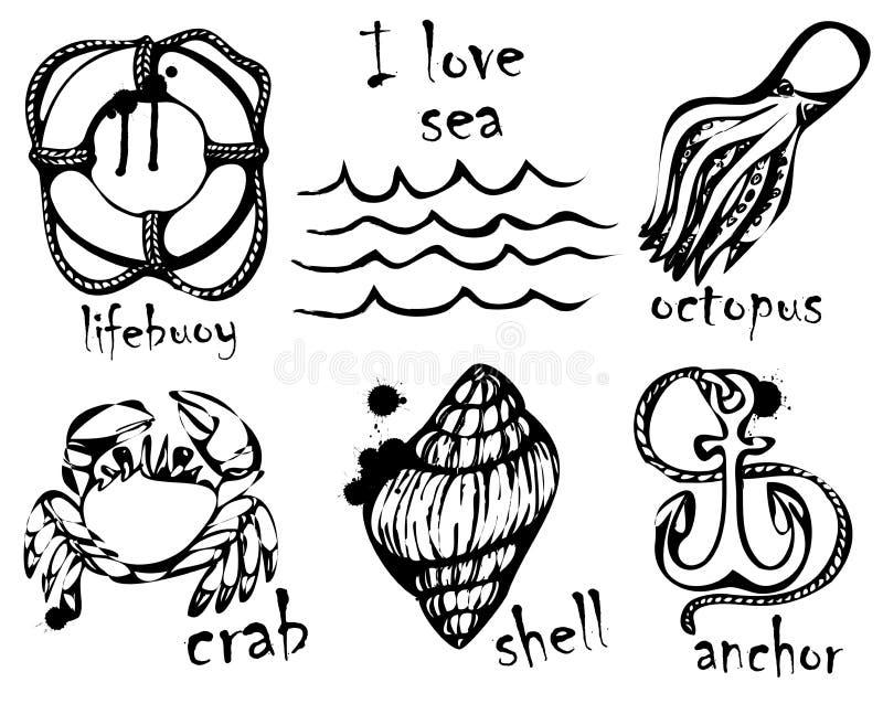 Dessins graphiques des animaux marins Imitation des dessins graphiques en encre Dessin et créativité sur le thème de mer Illustra illustration de vecteur