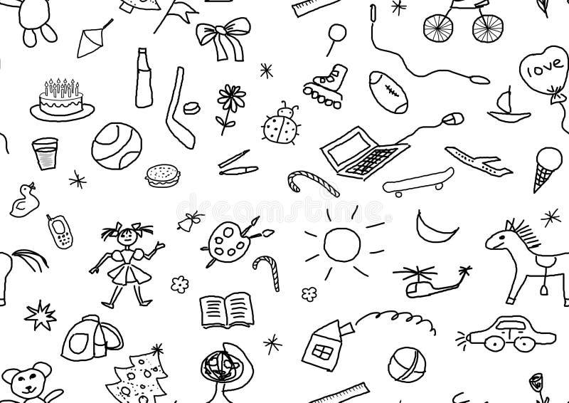 Dessins sans couture d'enfants réglés illustration de vecteur