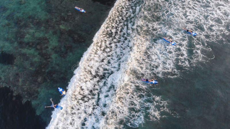 Dessus aérien de la vue des surfers sur l'océan au coucher du soleil et à la vague image stock