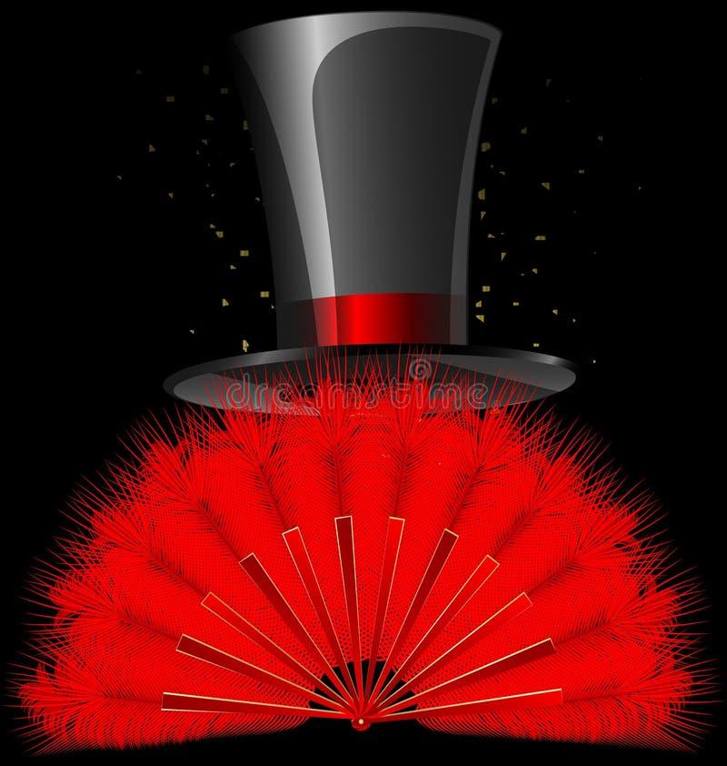Dessus-chapeau noir et ventilateur rouge de clavettes illustration de vecteur