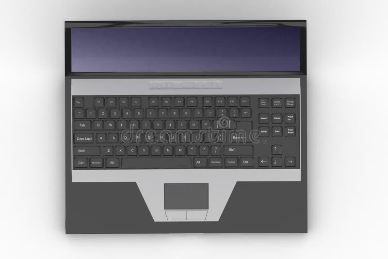 Dessus d'ordinateur portatif noir ouvert illustration libre de droits