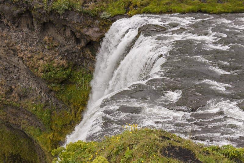 Dessus de cascade à écriture ligne par ligne de Skogafoss - Islande. photos libres de droits