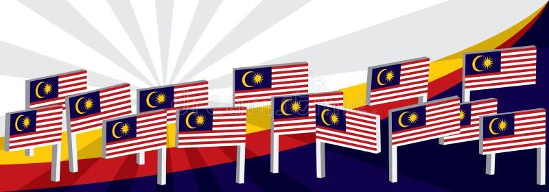 dessus de courbe de drapeau de support de 3d Malaisie illustration stock