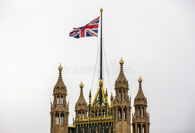 Dessus de Londres de Victoria Tower, palais de Westminster photo libre de droits