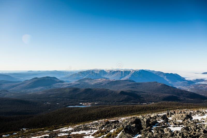 Dessus de Richardson Mountain en parc national de Gaspé au Québec, photographie stock libre de droits