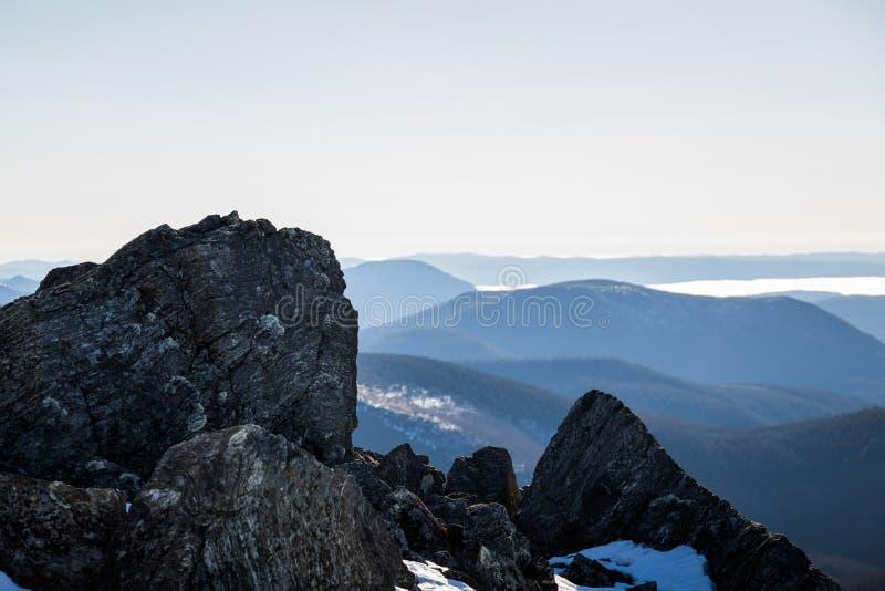 Dessus de Richardson Mountain en parc national de Gaspé au Québec, photos libres de droits